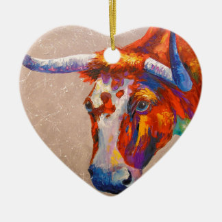 Curious bull ceramic ornament