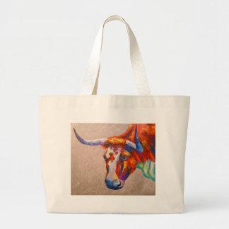 Curious bull large tote bag