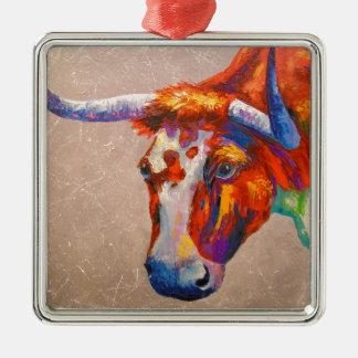 Curious bull metal ornament
