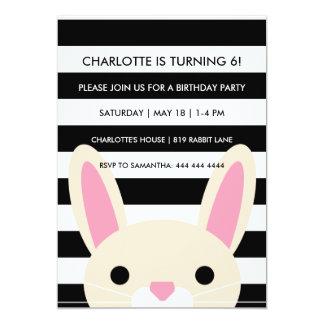 Curious Bunny | Stripes | Birthday Party 13 Cm X 18 Cm Invitation Card
