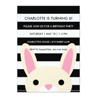 Curious Bunny | Stripes | Birthday Party Card