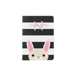 Curious Bunny | Stripes | Monogram Passport Holder