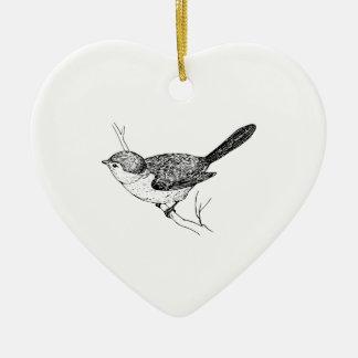 Curious Bushtit Bird Sketch Ceramic Heart Decoration