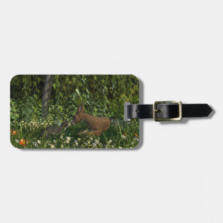 Curious Cat and Fawn Luggage Tag