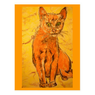 curious cat  art postcard