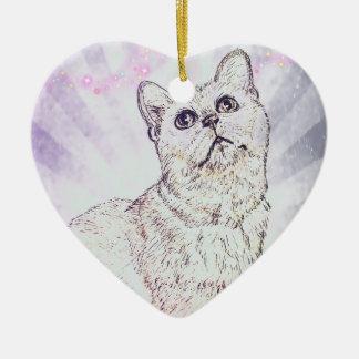 Curious Cat by Carol Zeock Ceramic Ornament
