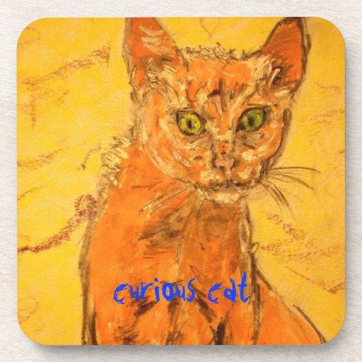 curious cat design coasters