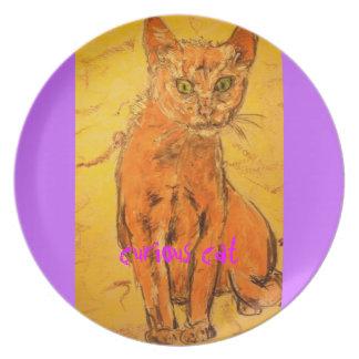 curious cat design dinner plates