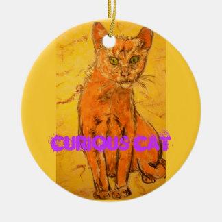 curious cat design round ceramic decoration
