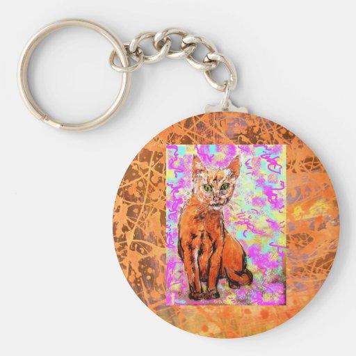 curious cat  drip key chains