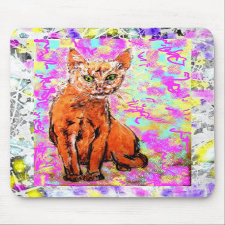 curious cat drip mouse pad