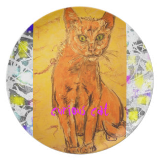 curious cat drip painting plate