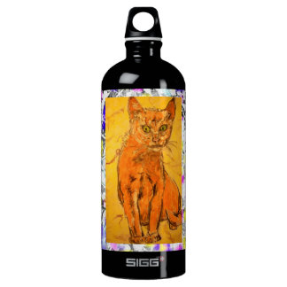 curious cat drip painting SIGG traveller 1.0L water bottle