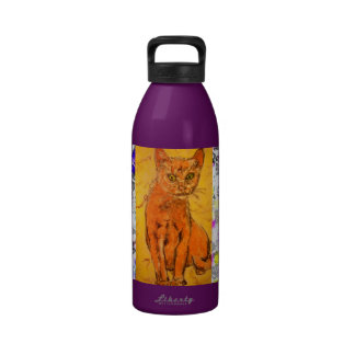 curious cat drip painting water bottles
