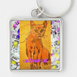 curious cat drip slogan Silver-Colored square key ring