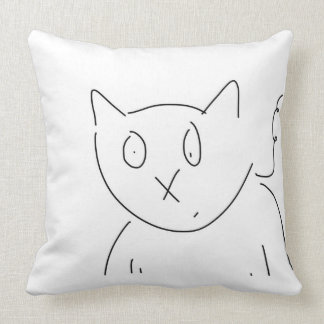 Curious Cat Feline Artwork Throw Pillow