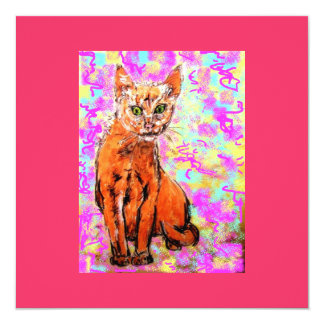 "curious cat 5.25"" square invitation card"