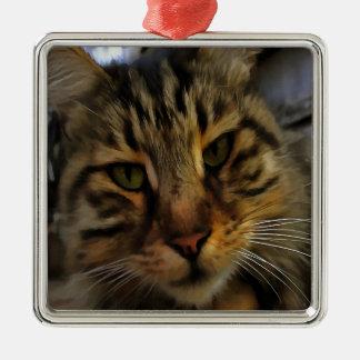 Curious Cat Metal Ornament