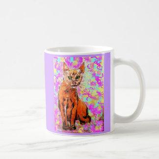 curious cat purple basic white mug