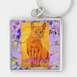 curious cat purple drip slogan Silver-Colored square key ring