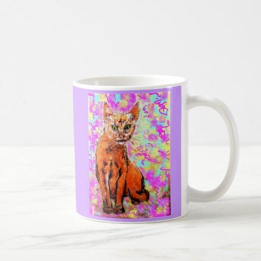 curious cat purple mug