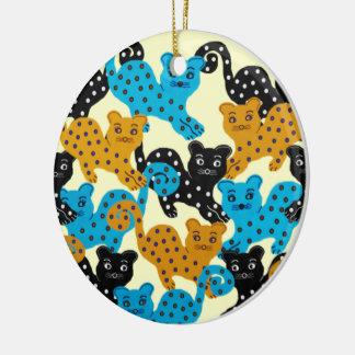 Curious Cat Round Ceramic Decoration