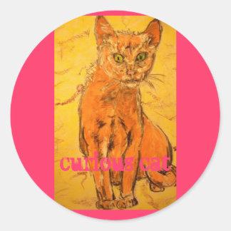 curious cat slogan round sticker