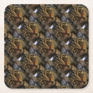 Curious Cat Square Paper Coaster