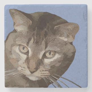 CURIOUS CAT STONE COASTER