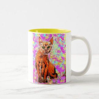 curious cat Two-Tone mug