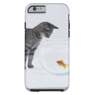 Curious cat watching goldfish in fishbowl tough iPhone 6 case