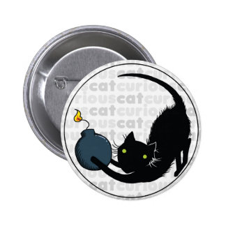 Curious Cat with Bomb Pinback Button