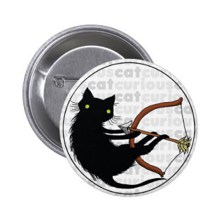 Curious Cat with Bow 6 Cm Round Badge