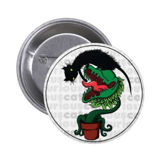 Curious Cat with Carnivorous Plant 6 Cm Round Badge