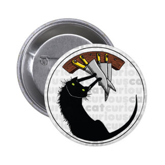 Curious Cat with Knives 6 Cm Round Badge