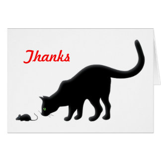 Curious Cat with Mouse Greeting Cards