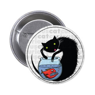 Curious Cat with Piranha Buttons
