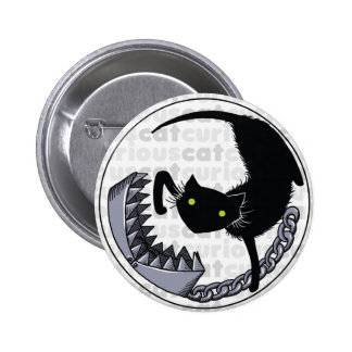 Curious Cat with Trap Pinback Button