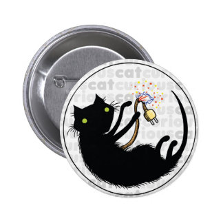 Curious Cat with Wire Pinback Button