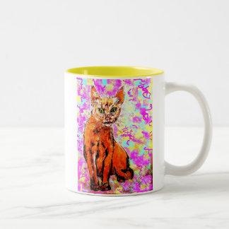 curious cat  yellow Two-Tone coffee mug