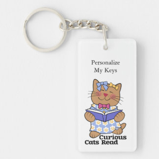 Curious Cats Read Girl Key Ring