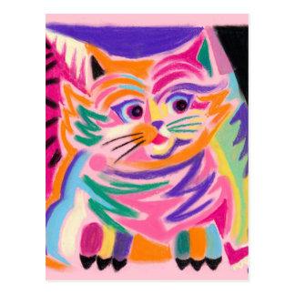 Curious Cheshire Cat 80s Retro Postcard