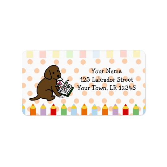 Curious Chocolate Labrador Puppy Address Label