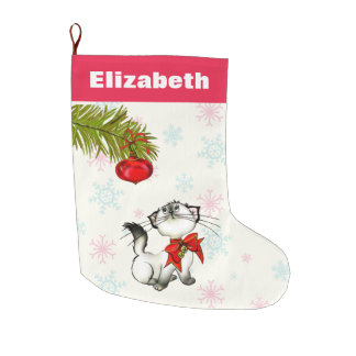 Curious Christmas Kitty With A Red Bow Custom Large Christmas Stocking