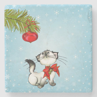 Curious Christmas Kitty With A Red Bow Stone Coaster