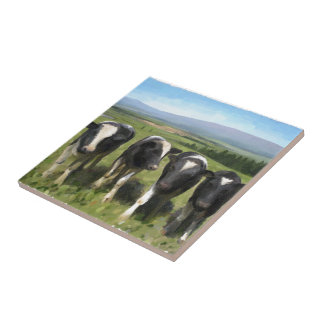 Curious cows small square tile