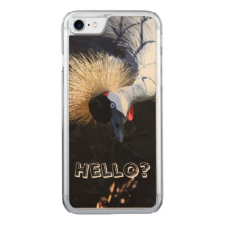 Curious Crowned Crane Answering the Phone Carved iPhone 7 Case