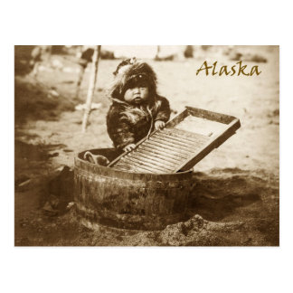 Curious Eskimo child with washboard Postcard