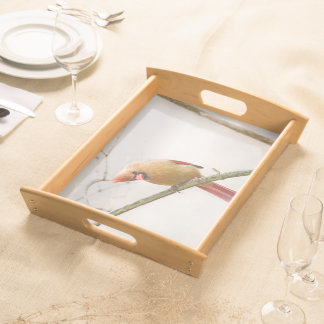Curious Female Cardinal Serving Tray