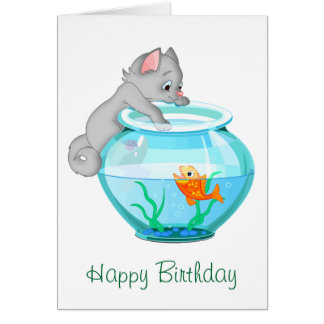 Curious Fishing Cat Birthday Greeting Card
